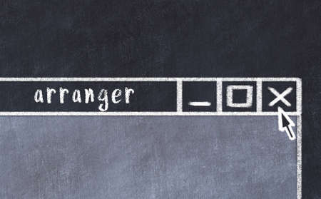 Chalk sketch of closing browser window with page header inscription arranger