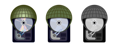 harddrive: Computer HDD protects itself under military helmets Illustration