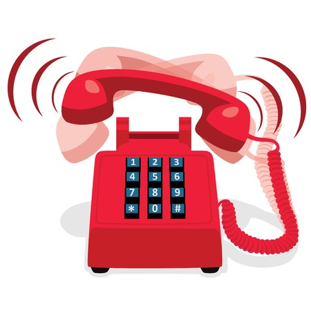 landline: Ringing Red Stationary Phone With Button Keypad Illustration