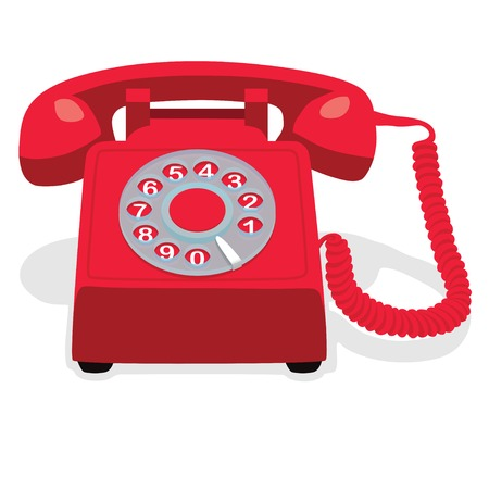 rotary dial: Red stationary phone with rotary dial. Vector illustration. Illustration