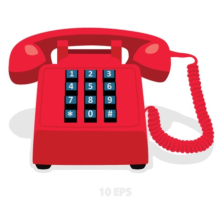 keypad: Red stationary phone with button keypad. Vector illustration.
