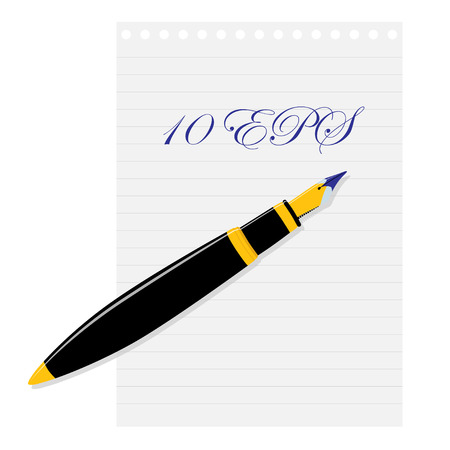 letter writing: Fountain pen lying on a sheet of paper. Vector illustration.