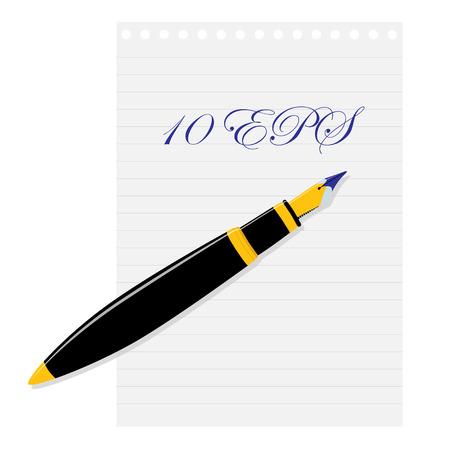 papier lettre: Stylo plume couch� sur une feuille de papier. Vector illustration.