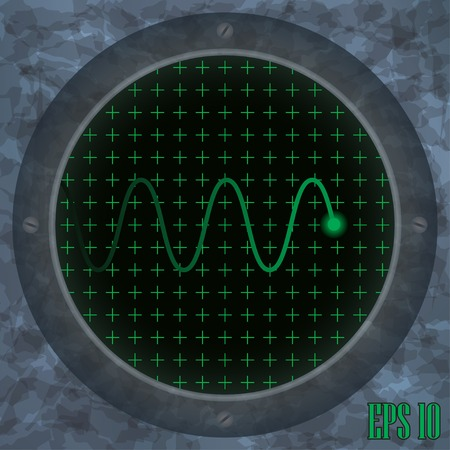 frequency modulation: Oscilloscope screen with green wavy trace. Vector illustration.