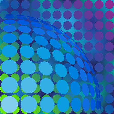 Abstract background with dots and sphere from dots. Vector illustration. Vector
