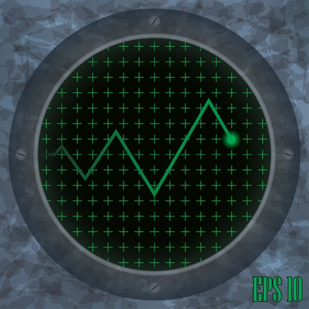 frequency modulation: Oscilloscope screen with green zigzag trace. Vector illustration