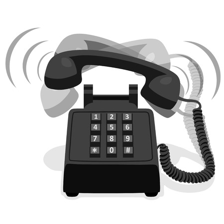 ringing: Ringing Black Stationary Phone With Button Keypad Illustration