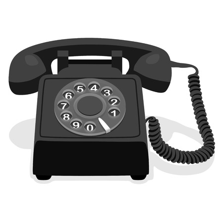 rotary dial: Black Stationary Phone With Rotary Dial