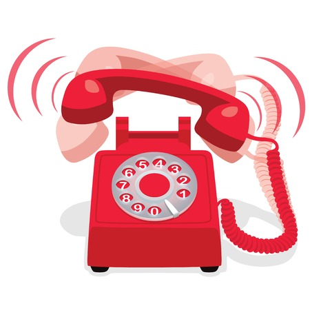 vintage backgrounds: Ringing Red Stationary Phone With Rotary Dial Illustration