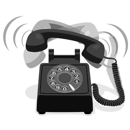 dial: Ringing Black Stationary Phone With Rotary Dial