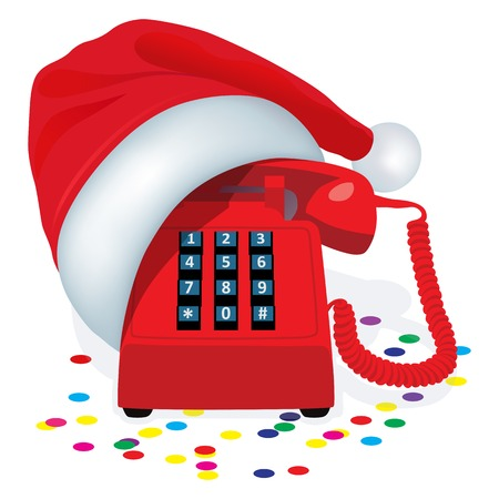 interaction: Christmas Red Stationary Phone With Button Keypad In Cap Of Santa Claus. Illustration