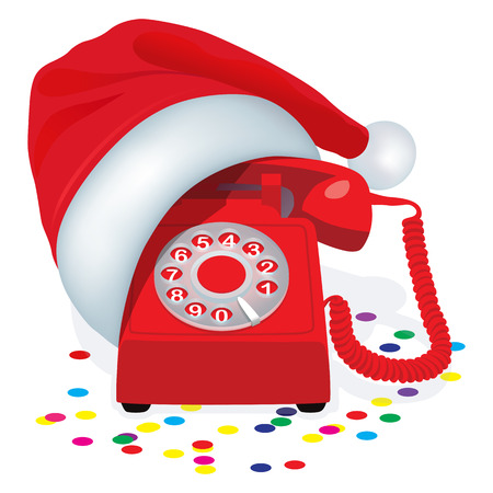 rotary dial: Christmas Red Stationary Phone With Rotary Dial In Cap Of Santa Claus.