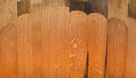 firing: Wood texture on the inside of oak barrel for wine after firing