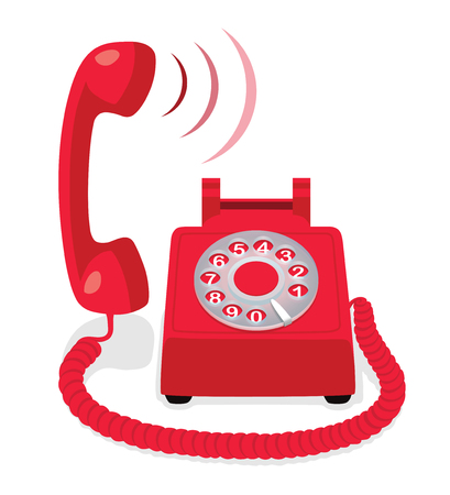 Red stationary phone with rotary dial and raised handset. Vector illustration.  イラスト・ベクター素材