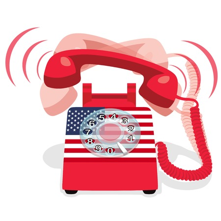 Ringing Red Stationary Phone With Rotary Dial. Vector Illustration.