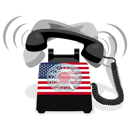 ロータリー ダイヤルとアメリカの旗と黒の固定電話が鳴っています。ベクトルの図。  イラスト・ベクター素材