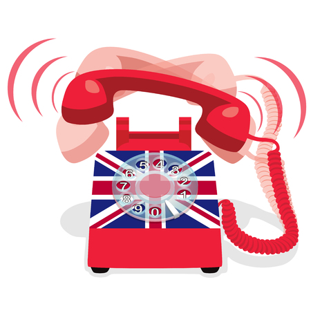 Ringing red stationary phone with flag of UK. Vector illustration. Illustration