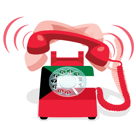 Ringing red stationary phone with rotary dial and with flag of  Kuwait. Vector Illustration.