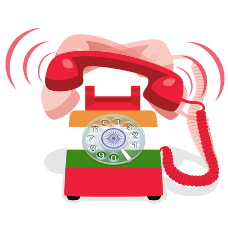 Ringing red stationary phone with rotary dial and with flag of India. Vector Illustration.