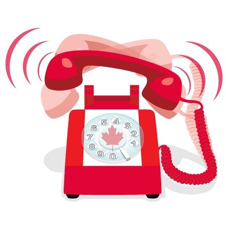 ロータリー ダイヤルとカナダの国旗赤の固定電話が鳴っています。ベクトルの図。