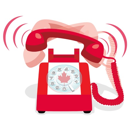 Ringing red stationary phone with rotary dial and with flag of Canada. Vector illustration.