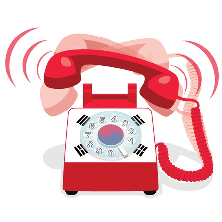 Ringing red residential phone with rotary dial and with flag of South Korea vector illustration Illustration