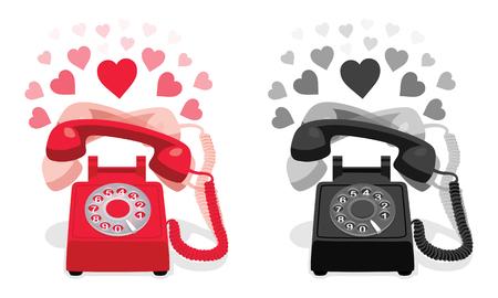 Téléphone rétro stationnaire qui sonne avec cadran rotatif et coeurs. Illustration vectorielle. Vecteurs