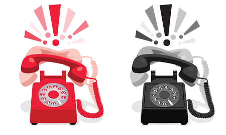 Téléphone rétro stationnaire qui sonne avec cadran et points d'exclamation Vecteurs