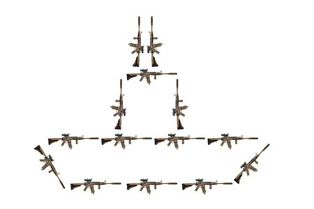 Abstract image of a ship or aircraft carrier made from assault tactical rifles of the American army on a white background, isolated Фото со стока