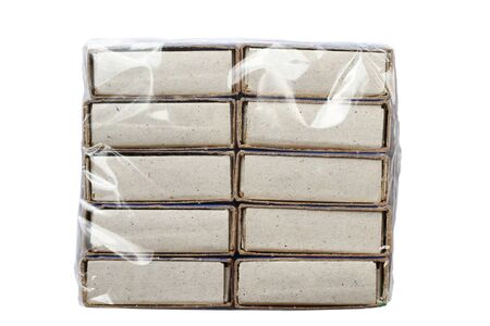 Packing of matches in polyethylene on a white background, isolated Stock Photo