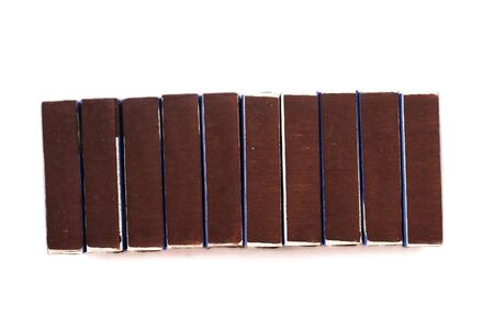 Many boxes of matches on a white background, isolated