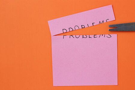 The inscription on the sticker: Problems on an orange background