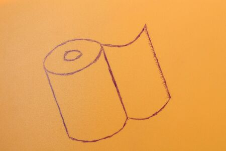 Felt-tip drawing of toilet paper, background, blank, panic shopping concept
