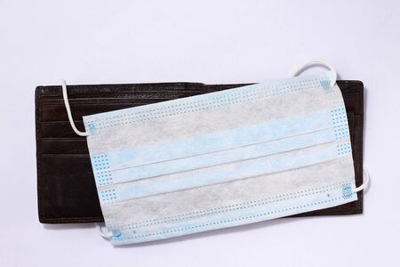Wallet and Surgical Medical Mask, Covid-19, Background