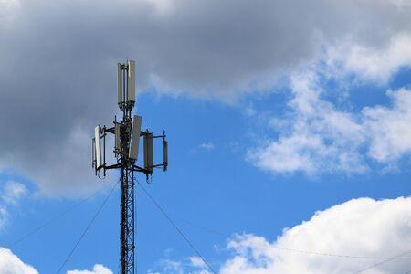 5G mobile phone tower. High Speed Broadband. Wireless cellular network. Signal data.