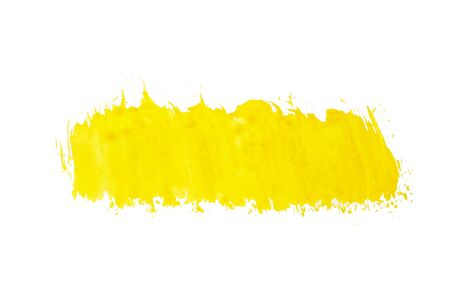 Abstract copyspace or substrate for text from yellow paint on a white background, isolated