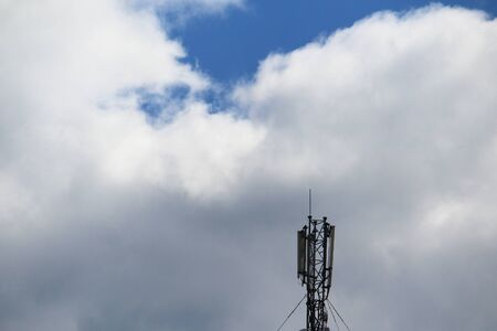 5G mobile phone tower. High Speed Broadband. Wireless cellular network. Signal data.