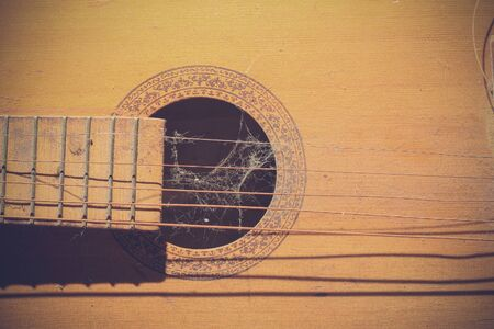 Old dusty guitar element with torn strings and cobwebs. Toned background