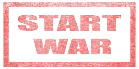 Red stamp on a white background, isolated. Lettering or text: START WAR Stok Fotoğraf