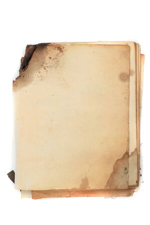 Old ancient book. Yellowed paper from time to time. Decrepit notebook 版權商用圖片