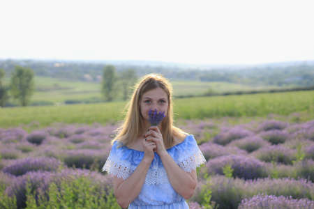 Lifestyle photo shoot in nature. A girl or young woman enjoys a walk through the fresh air and the scent of a lavender field in the sunset. Selective focus.