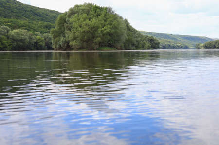 Very beautiful river water surface. Natural green background. Selective focus
