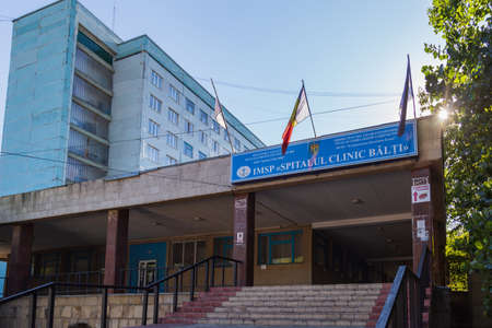 September 10, 2020 Balti or Beltsy Moldova City Hospital. Illustrative editorial