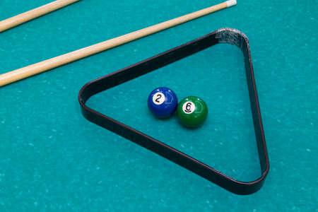 Billiard table in the bar. Abstract universal illustrative background. Pool