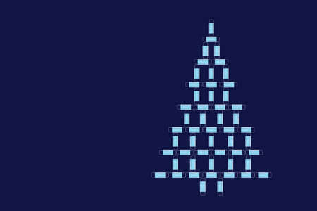 Christmas tree made of medical surgical masks on a symbolic blue background. The concept of celebrating new year and christmas during the covid-19 pandemic Archivio Fotografico