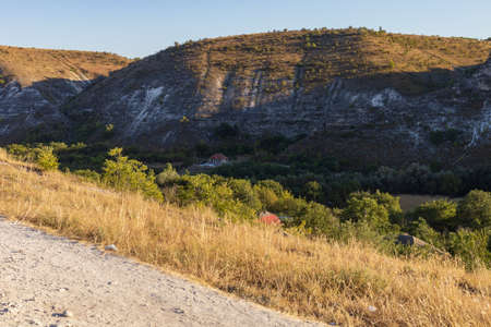 Hilly landscape of eastern Europe. Popular places for travel. Moldova Old Orhei. Background