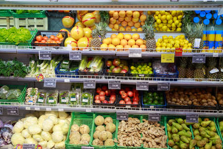 February 7, 2021 Balti Moldova Large store or supermarket. Illustrative editorial. Fruit and vegetables section.