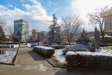March 23, 2021 Balti, Moldova, a rare natural phenomenon for the spring time - snow. Illustrative editorial. Background