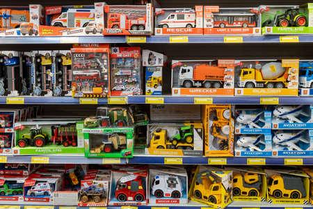 April 22, 2021 Beltsy Moldova goods on the market shelf. Supermarket showcase. Illustrative editorial. Model cars in the childrens toys department 新闻类图片