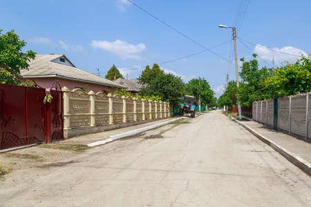 Streets of an urban-type settlement. Illustrative editorial. June 22, 2021 Biruintsa Moldova. Background with copy space